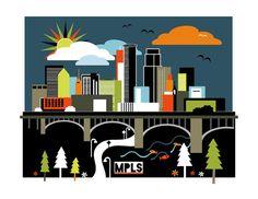 #Minneapolis // Art Print // Skyline by CherrySparrow on Etsy #mpls