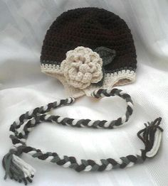 Crochet Flower Hat w/ Braided Tie by MamaTCrafts on Etsy, $17.00