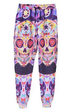 stylish pants- colorful skulls. love it!