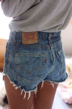 Denim cut-off shorts. Classic summer wardrobe piece.