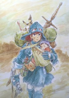 Illustrations done for the Nausicaa manga ===== Manga began running in monthly 'Animage' in Feb. 1982, collected in order of appearance ===== Notes: I drew this as I was starting to figure out what Nausicaa was going to have to do, which is probably why I liked it so much. I just knew there would come a time when the baggage of everything she was carrying would prevent her from flying happily through the air, & force her to trudge along the surface.