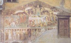 Muro exterior del oratorio de los hermanos flagelantes eb Clusone (Italia)  Giacomo Morlone 1485. Aquí se representa la Danza Macabra y, sobre ella, el Triunfo de la Muerte, que integra los elementos de la Leyenda de los Tres Vivos y los Tres Muertos. http://www.lamortdanslart.com/3m3v/3m3v_Italie.htm