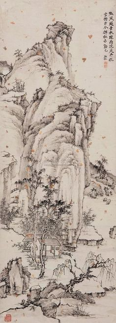 清代 - 弘仁 ( Hong Ren,1610-1664 ) - 山水畫作欣賞
