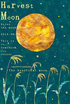 Harvest Moon.Enjoy the moonlight.2014.09.08.This is so SemiDark.From SORAHANA.The beautiful moon. 2014年お月見イラスト。