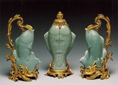 Celadon fish vases, 1750