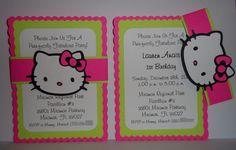 Hello Kitty, Happy Birthday Invitations. $10.00, via Etsy.