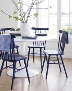 """Tucker Chair in Navy from Serena & Lily. 17.5""""W x 19""""D x 33.5""""H. $188 retail"""
