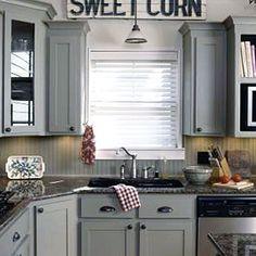 Grey Cabinets....never thought of beadboard backsplash!