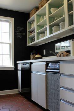 open white cabinets + black walls