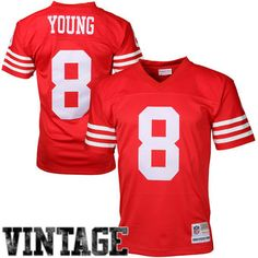 San Francisco 49ers #8 Steve Young Mitchell Ness Scarlet Retired Player Vintage…