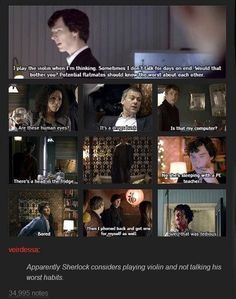 Worst thing about Sherlock is playing the violin and not talking, according to Sherlock. Somehow I don't think that's quite true. Sherlock Fandom, Sherlock John, Sherlock Holmes, Vatican Cameos, Mrs Hudson, 221b Baker Street, John Watson, Johnlock, Martin Freeman