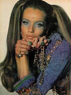 Veruschka wearing rings by Van Cleef & Arpels, photo by Irving Penn for Vogue, 1969