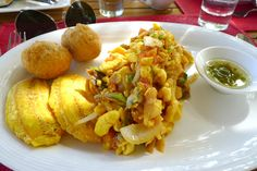 JAMAICA: Ackee and Saltfish. This savory mix of salt cod, ackee (a fruit related to the lychee), and onions is Jamaica's national dish. It's often served alongside another delicious Jamaican specialty -- fried dumplings. #food #globaleats