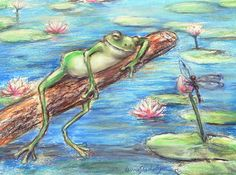 "Frog print art dragon fly nursery lily pond ""Are You Sleeping Little Frog?"" by Laurie Shanholtzer-The dragonfly asks the funny little frog!"