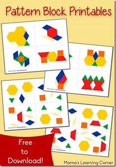 Free Pattern Block Printables - activity cards available in 2 different learning levels - pinned by – Please Visit for all our ped therapy, school & special ed pinsFREE Pattern Block Printables are a great early math activity for toddler, preschool, pre Free Preschool, Preschool Learning, Kindergarten Math, Teaching Math, Toddler Preschool, Preschool Printables Free Worksheets, Free Pattern Block Printables, Pattern Worksheet, Pattern Blocks