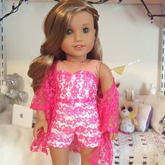 18 inch doll pink lace bustier shorts and kimono by SewCuteForever on Etsy www. American Girl Doll Room, Ropa American Girl, American Girl Doll Pictures, American Girl Crafts, American Doll Clothes, Ag Doll Clothes, Doll Clothes Patterns, American Dolls, Dress Patterns