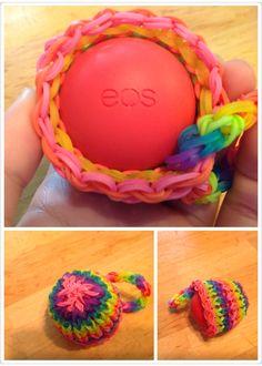 My very own rainbow loom eos lip balm holder design. My original design