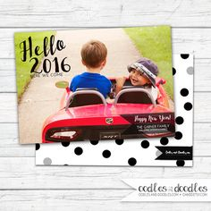 New Years Card | Hello 2016 Confetti | Photo Card | Digital printable file or printed | Available at OandD.etsy.com