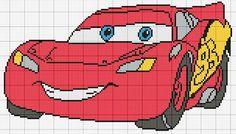 Cars Cross Stitch For Kids, Cross Stitch Charts, Cross Stitch Patterns, Crochet Patterns, Disney Cars, Cross Stitching, Cross Stitch Embroidery, C2c Crochet Blanket, Minnie Baby