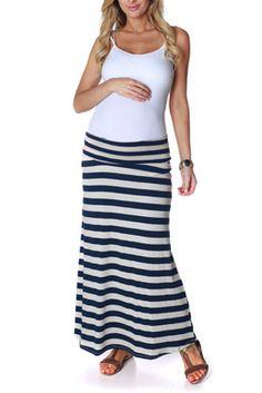 Navy Blue Cream Striped Maxi Maternity Skirt