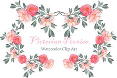 Peonies Victorian Watercolor Clipart by LABFcreations on Creative Market