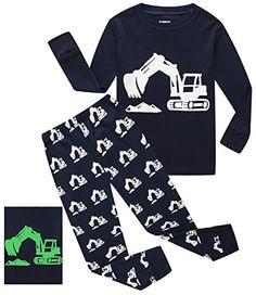 IF Pajamas Glow-in-the-Dark Excavator Baby Boys Long Sleeve Pajamas Sets 100% Cotton Sleepwears Toddler Infant Kids 18-24 Months