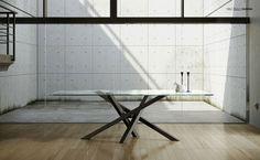 Mesa de comedor rectangular de acero inoxidable y cristal SHANGAI | Mesa de acero inoxidable y cristal by RIFLESSI