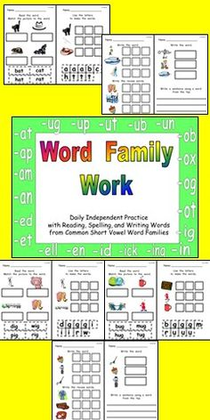 This file has independent practice for 26 common short vowel word families. It is designed to be used four days a week, with a different activity for each day. This resource is ready to copy and use tomorrow!!
