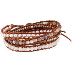 Chan Luu Sterling Silver 5 Wrap Bracelet on Leather with Nuggets (€145) ❤ liked on Polyvore featuring jewelry, bracelets, sterling silver jewelry, leather wrap bracelet, sterling silver bangles, sterling silver jewellery and wrap bracelet