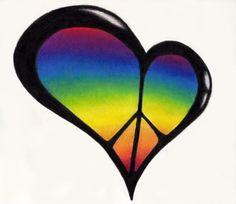 Peace rainbow heart