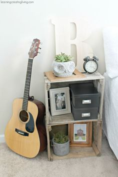 Creative and Easy Ways to Make a Nightstand DIY Furniture ~ Make a simple nightstand by stacking two crates together!DIY Furniture ~ Make a simple nightstand by stacking two crates together! Wooden Crate Furniture, Wooden Crates, Furniture Decor, Cool Nightstands, Crate Nightstand, Nightstand Ideas, Bedside Tables, White Bedroom Furniture, Bedroom Decor