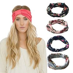 DRESHOW Women Stretchy Flower Printed Vintage Headband Fashion Head Scarf for Sports Exercise >>> Click image for more details. (This is an affiliate link) #Headbands