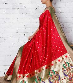 Handwoven red Paithani silk saree with zari work by Surekha Arts on… Traditional Sarees, Traditional Fashion, Indian Attire, Indian Wear, Indian Style, Indian Dresses, Indian Outfits, Indian Clothes, Indian Beauty Saree
