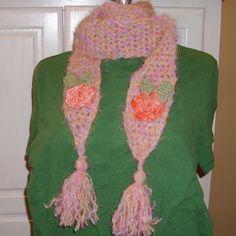 Pink Roses Scarf Handmade Crochet Scarf Soft by GypsythatIwas, $20.00