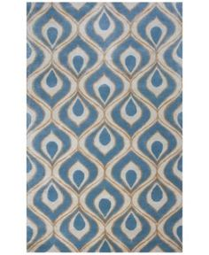 "Kas Bob Mackie Home 1019 Blue Eye of the Peacock 2'6"" x 8' Runner Rug"