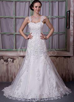 Ivory Satin Lace Sweetheart Beading A-line Wedding Dress - Milanoo.com