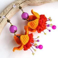 autumn earrings big yellow flower earrings big yellow