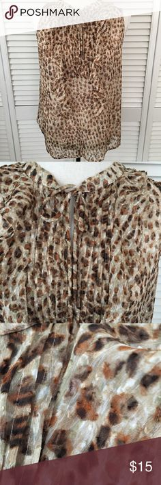 Sleepless summer top Hints of gold, brown, rust & tan give this top a slight shimmer. Textured material. Polyester. Slight gathering at back yoke. Ruffles & pin tucking in front with tie closure. This fun top is sure to get NOTICED. NWOT LOFT Tops Blouses