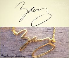 Handwriting jewelry - Signature Necklace - Personal necklace - Name Necklace - Handmade Jewelry 925 Sterling Silver - Silver Gold necklace