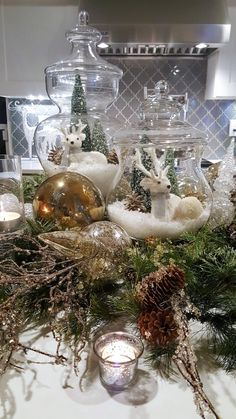 Easy and Elegant Christmas Decorating Ideas - Use Apothecary Jars - Home with Holliday It is that time of the year to start planning your holiday decor! Today, I am sharing several easy and elegant Christmas decorating ideas. Elegant Christmas Decor, Silver Christmas Decorations, Christmas Jars, Christmas Tablescapes, Christmas Centerpieces, Rustic Christmas, Christmas Holidays, Christmas Crafts, Holiday Decor