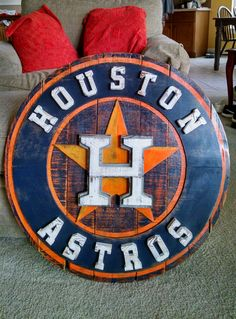 Check out our massive range of Houston Astros merchandise! Reclaimed Wood Wall Art, Wood Art, Woodworking Projects Diy, Wood Projects, Arena Football, Wood Logo, H Town, Old Signs, Sports Art