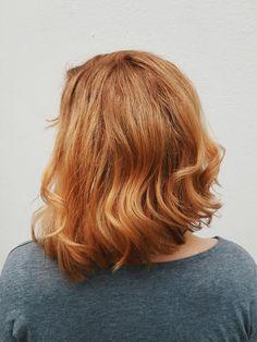 Copper-coloured blonde hair try eSalon's custom blend 8.04 Medium Blonde (Natural Copper)
