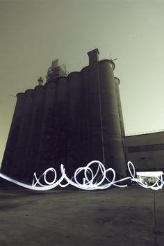 Light Graffiti - Royal T Light Painting Photography, Photography Tips, Light Trails, Street Art Graffiti, Light Art, Shutter Speed, Modern Design, Graphic Design, Concrete