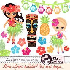 Items similar to Hawaiian Luau Clipart / Hula Girl, Hibiscus, Tiki Clip Art on Etsy Hawaiian Theme, Hawaiian Luau, Aloha Party, Luau Party, Luau Cookies, Luau Invitations, Invitation Set, Chevron, Tiki Statues