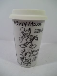 DISNEY CERAMIC TRAVEL MUG w/SKETCH DRAWINGS & ARTIST NOTES - MICKEY -  8 oz.