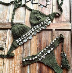 ☮ American Hippie Bohéme Boho Style ☮ Bikini Beach Fashion, Cute Bikini, Sexy B Tops A Crochet, Knit Crochet, Bikini Fashion, Boho Fashion, Beach Fashion, Style Fashion, Seashell Bikinis, Boho Green, Mode Boho