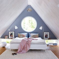 Love love love the circle window, the window shelfs, and the fact that's an attic bedroom! I love attic bedrooms Attic Bedrooms, Bedroom Loft, Home Bedroom, Bedroom Decor, Airy Bedroom, Peaceful Bedroom, Upstairs Bedroom, Attic Bathroom, Remodel Bathroom