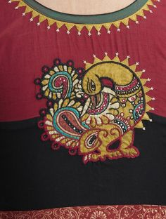 Buy Black Maroon Embroidered Cotton Blouse Women Blouses Magic Hand & Ikat Online at Jaypore.com