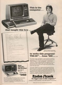 Radio Shack's TRS 80 Our first computer. I used a computer magazine that had code you could program into the computer to create a game. Then you recorded it onto a cassette tape! I wish I would have stuck with the code writing. Retro Ads, Vintage Ads, Vintage Stuff, Old Advertisements, Advertising, Radios, Alter Computer, 8 Bits, Old Technology