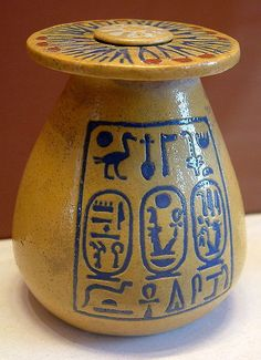 """Ancient Egyptian Pottery: The vase reads: center line, then left, then right, top to bottom: Center-""""The good god, Nebmaatre, giver of life; Left-The son of Re, Amenhotep, Ruler of (Wast-Uast) (Thebes), eternally; right-The King's great wife, Tiye"""""""